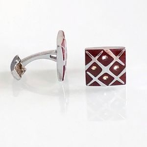 Burgundy and Silver Crystal Square Cufflinks